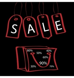 Black Friday tag with the words sale and bag vector image