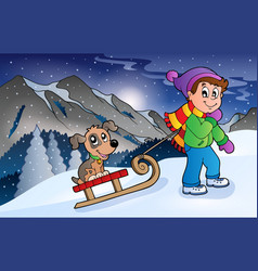 Boy with dog on sledge in winter vector