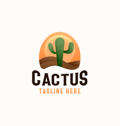 Cactus plant in desert with sunset logo template vector