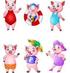 cartoon happy pigs collection set vector image