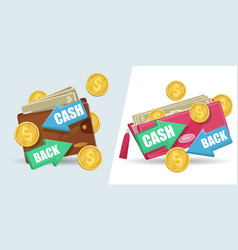 cash back isolated stickers set vector image