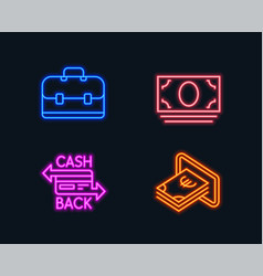 Cash money portfolio and cashback card icons vector