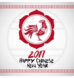 Chinese new year 2017 with rooster red frame vector