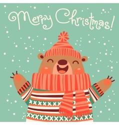 Christmas card with a cute brown bear vector