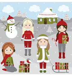 Christmas Girls vector image
