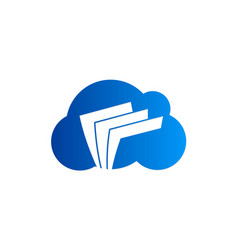 cloud data file technology logo vector image