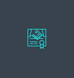 Commitment concept blue line icon simple thin vector