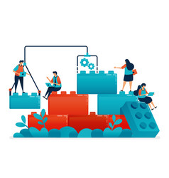Compose lego games to teamwork and collaboration vector