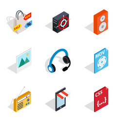 Computing machine icons set isometric style vector