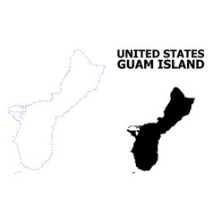 Contour dotted map guam island with vector