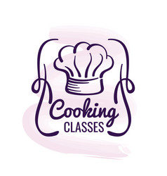 Cooking logo design with watercolor decor vector