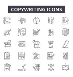 copywriting line icons for web and mobile design vector image