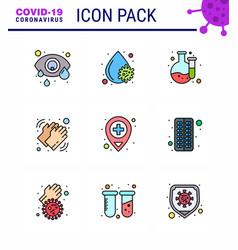 coronavirus prevention set icons 9 filled line vector image