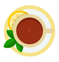 cup black tea with lemon and mint icon flat vector image