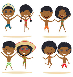 cute african-american couples jumping on the vector image