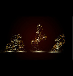 cyclist and bicycle sport set vector image
