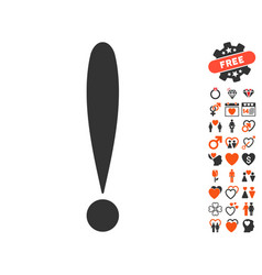 Exclamation sign icon with love bonus vector