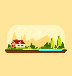 Family suburban cottage house flat design vector