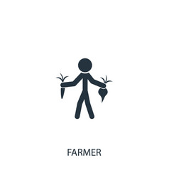 Farmer with carrot and beet icon simple gardening vector