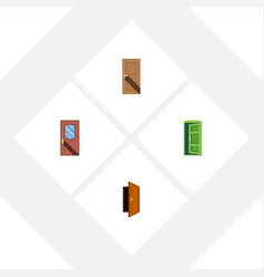 flat icon door set of entry entrance frame and vector image