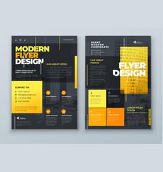 flyer design dark yellow modern background vector image