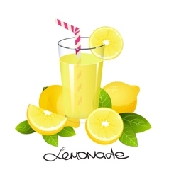 Fresh lemonade with lemon fruit slice Realistic vector