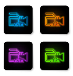 glowing neon video camera with inscription xxx vector image
