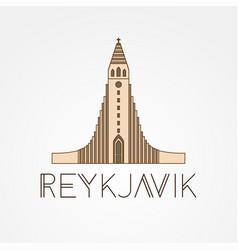 hallgrimskirkja church - symbol iceland vector image