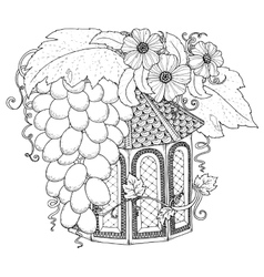 Hand drawn outline nesting box decorated with vector