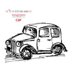 hand-drawn vintage transport car quick ink sketch vector image