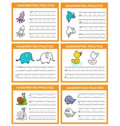Handwriting practice sheet vector