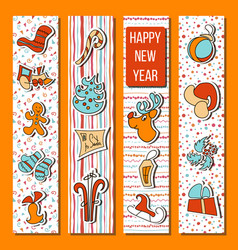 happy new year set in stripes orange background vector image