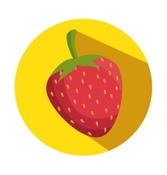 healthy fruit strawberry icon with shadow vector image