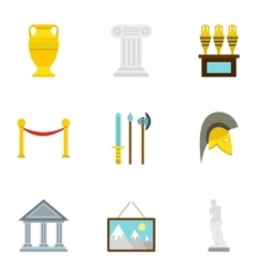 Historical museum icons set flat style vector