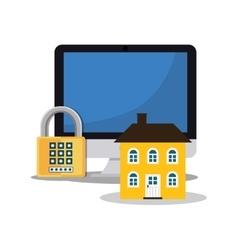 home security computer password padlock vector image