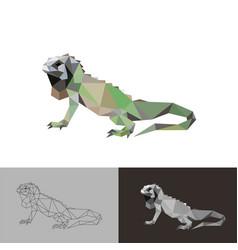 iguana reptile low poly design vector image