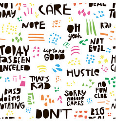 ironic quotes hand drawn seamless color pattern vector image