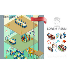 isometric colorful business composition vector image