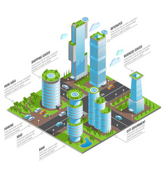 isometric futuristic skyscrapers infographics vector image