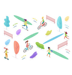 isometric public park with walking riding and vector image