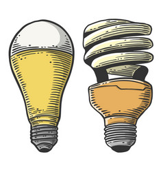 Led light bulb concept in doodle and sketch style vector
