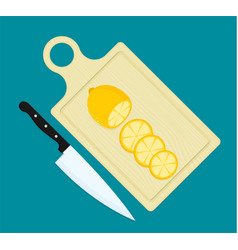 lemon slices on kitchen cutting board and kitchen vector image