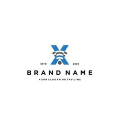 Letter x wireless logo design vector