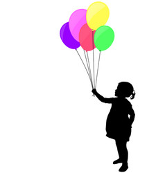 little girl holding colorful balloons silhouette vector image