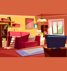 Living room interior cartoon vector