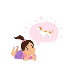 Lovely girl dreaming of a dog kids imagination vector