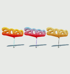 low poly polygonal balloons 2020 3d vector image