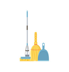 Mop broom and scoop vector
