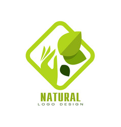 Natural logo design organic food label emblem vector