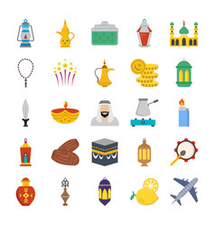 old traditional heritage flat icons vector image